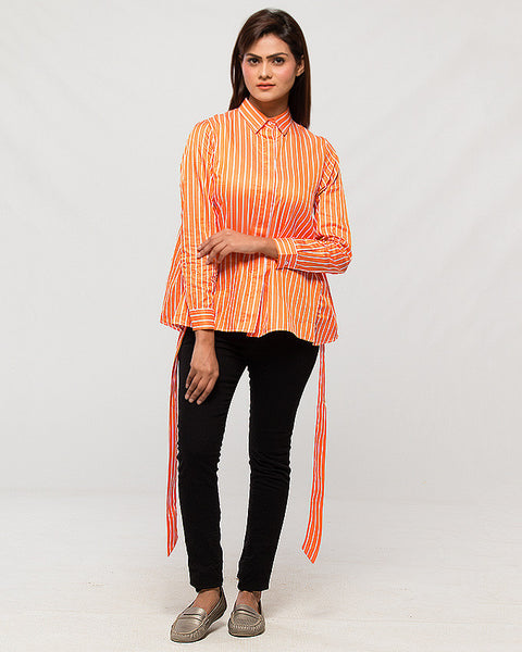Orange Premium Cotton Striped Peplum Buttondown Top