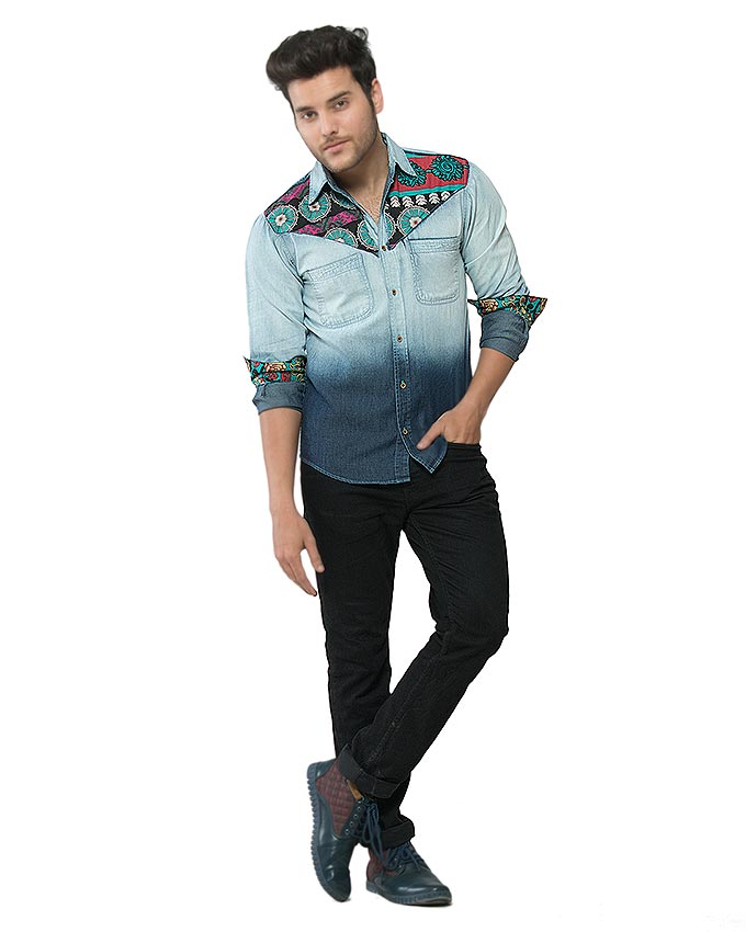 March Gradient Wash Denim Shirt with Floral Patchwork for Men