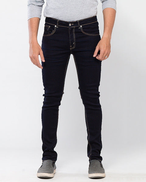 March Deep Blue Viscose Stretch Skinny Fit Jeans for Men