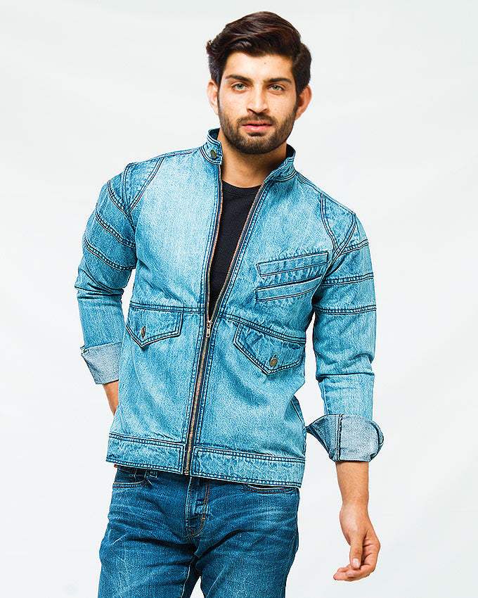 March Frosted Blue Bomber Jacket W Front Zip & Pockets for Men