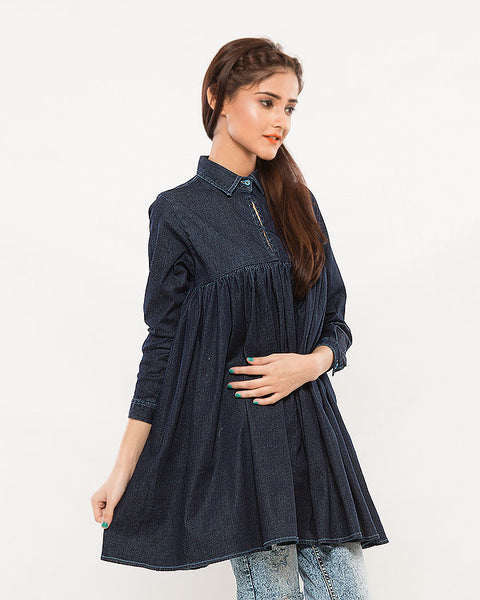 Dark Blue Stretch Denim Peplum Top