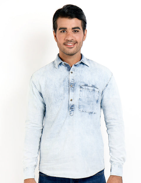 March Ice Denim Random Wash Shirt with Brass Buttons and Pocket for Men
