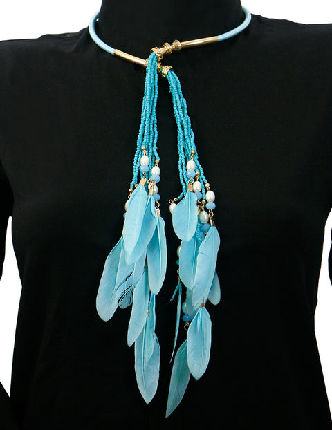 March Turquoise Peacock Feather Collar Necklace for Women