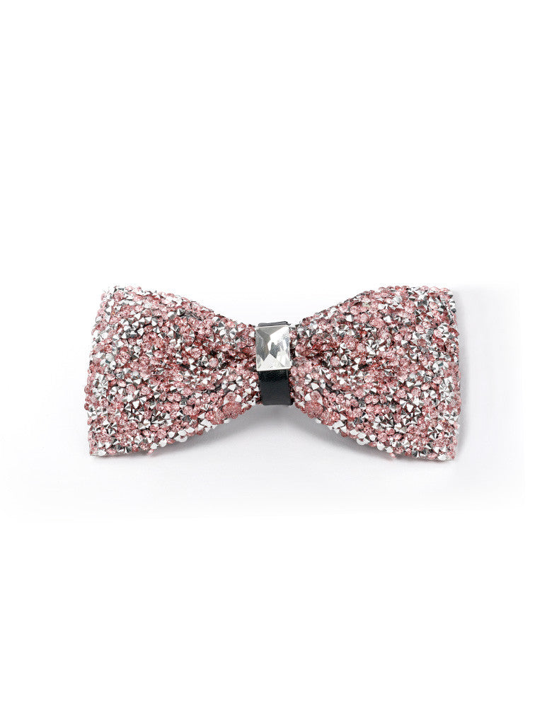 March Black and Pink Rhinestone Bow Tie