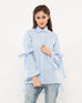 Nurai Powder Blue Striped Cotton Top w Tie-up Bell Sleeves for Women