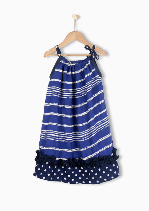 Nurai String Top Striped Frock W/ Frilly Border for Girls