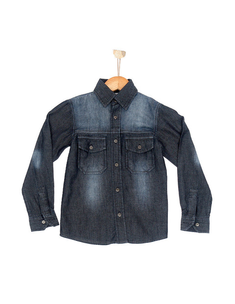 March Dark Wash Denim Shirt W Scrapping on Yoke for Boys
