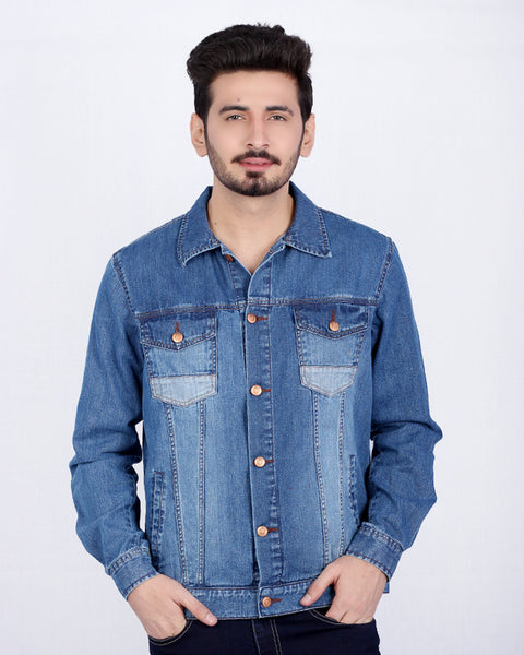 Mild Blue Distressed Denim Jacket with Acid Finishing for Men