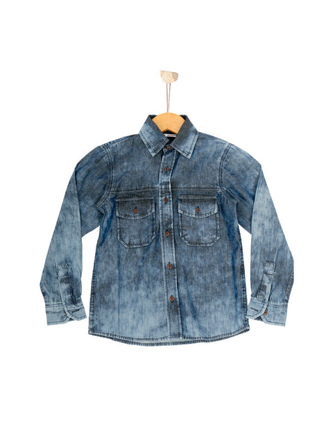 Nurai Denim Dark Random Washed Shirt W Shaded Buttons for Girls