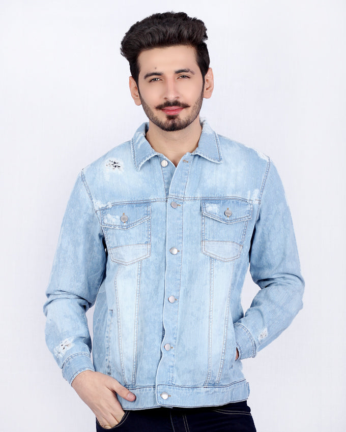 Medium Blue Denim Jacket with Copper Buttons * Patch Pockets for Men