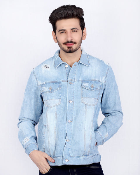 Mild Blue Distressed Denim Jacket