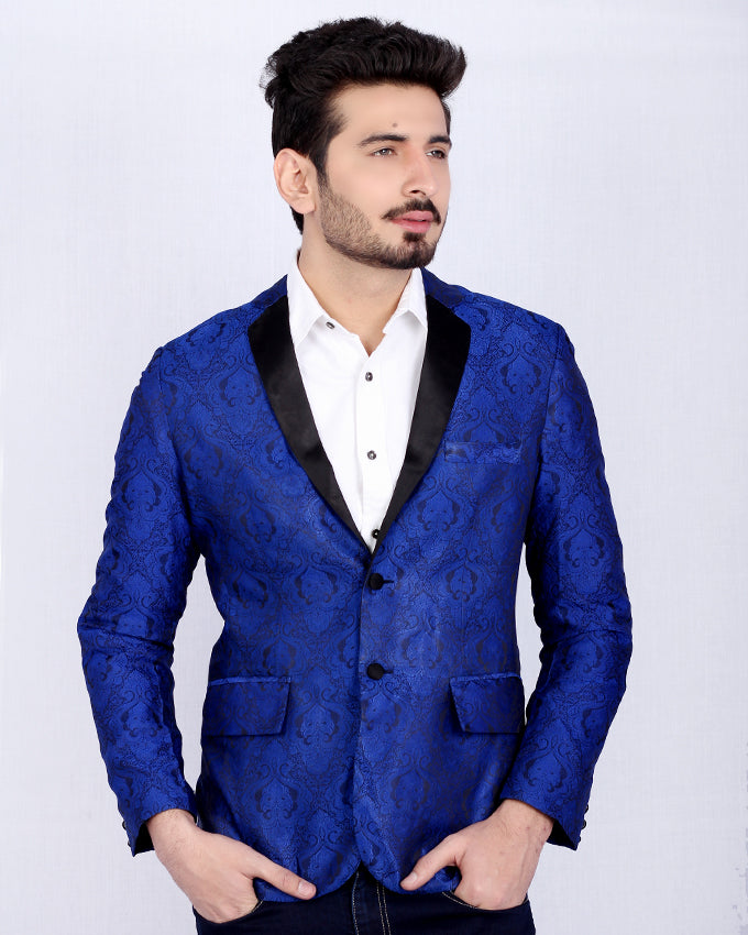 Electric Blue Banarsi Coat with Navy Blue Lapels for Men