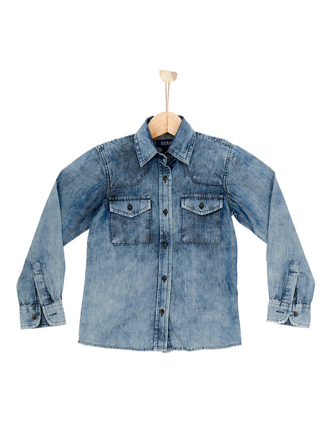 March Random Washed Denim Shirt W Shady Patches for Boys