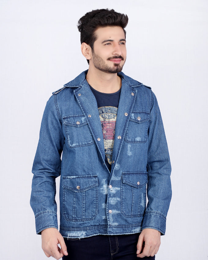 Dark Blue Denim Spy Jacket with Silver Studs on Shoulder & 4 Front Pockets for Men