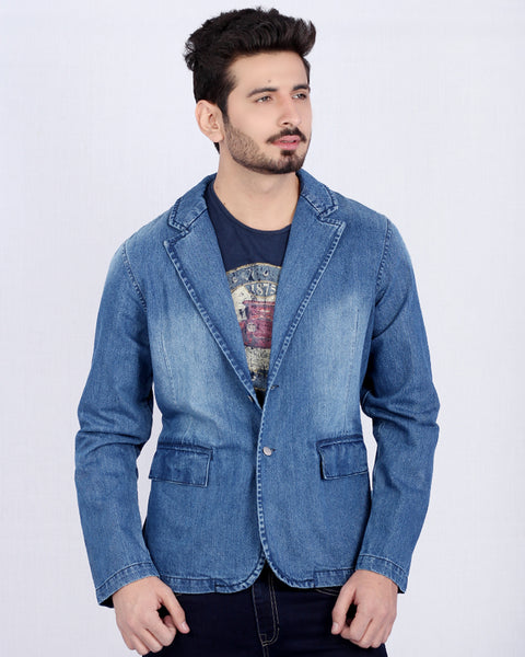 Medium Blue Denim Coat with Front Pockets & Silver Buttons for Men