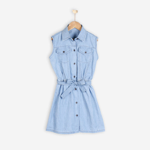 Nurai Ice Blue Denim Frock W/ String on Waist For Girls