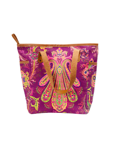 March Large Violet Printed Canvas Bag with Leather Straps