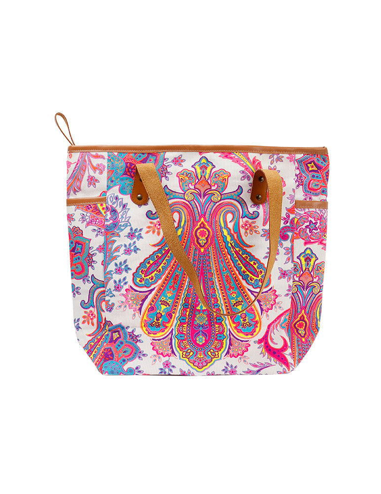 March Large White & Pink Printed Canvas Bag with Leather Straps