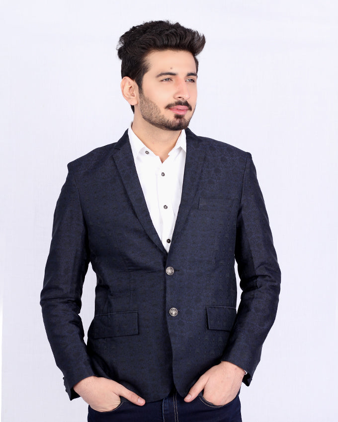 Blue Black Banarsi Coat with Silver Shield Buttons for Men