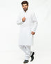 March White Self Scroll Print Kurta W White Pajama for Men