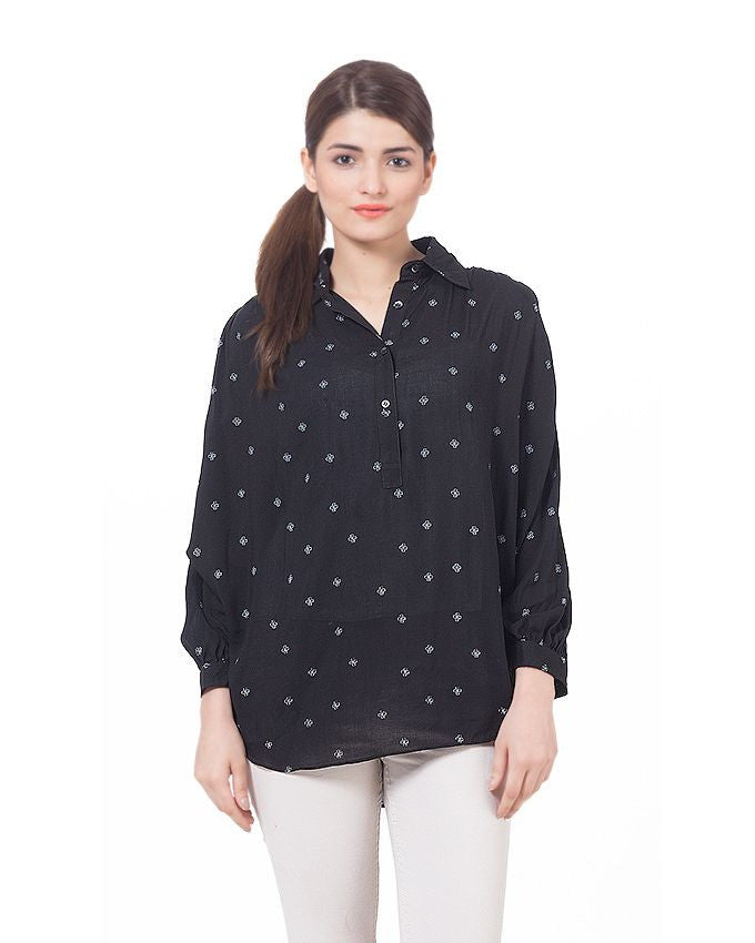 March Black Short Shirt W Fly Away Sleeves & White Pluses for Women