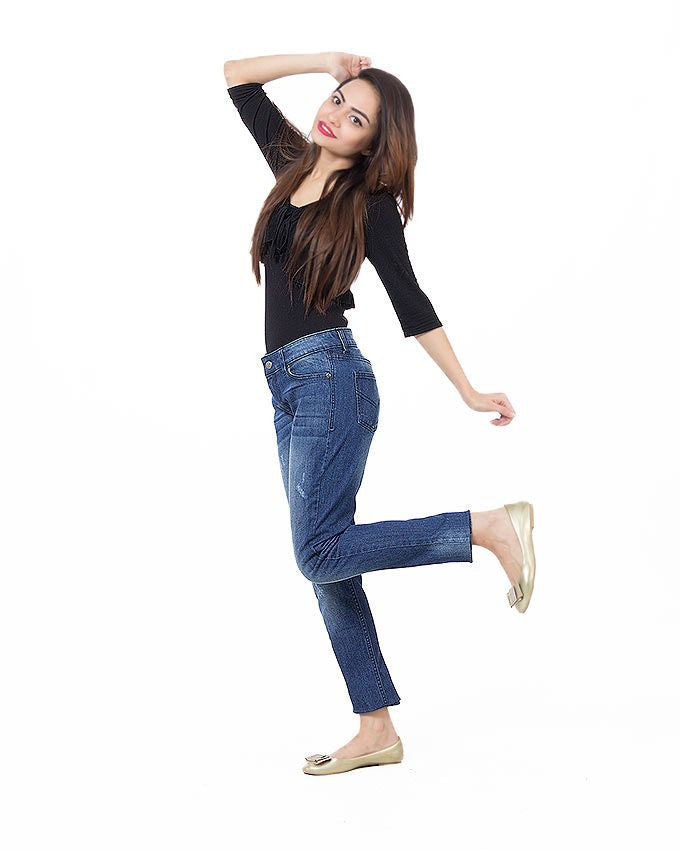March Blue Stretchable Cotton Skinnies W Whiskers for Women