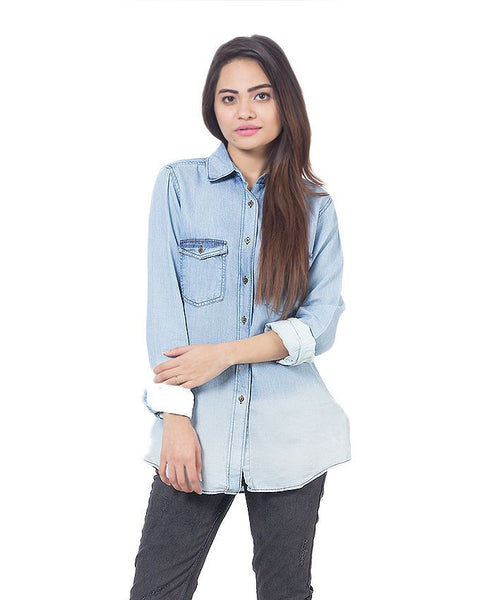 March Denim Button Down Light Gradient Wash Shirt for Women