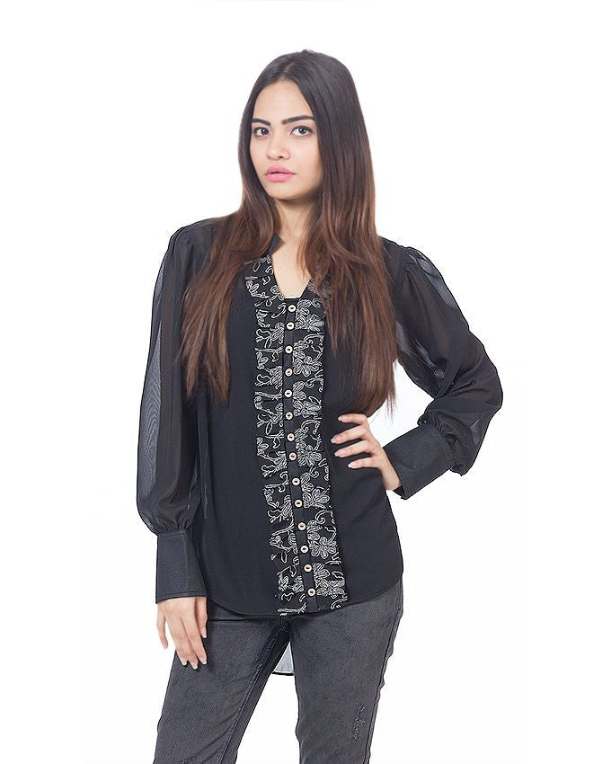 March Black Chiffon Shirt with Floral Placket & Wooden Buttons for Women