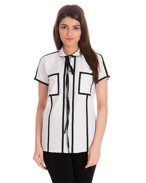 March White Cotton Satin Shirt W/ Black Borders & Giftwrap Collar for Women
