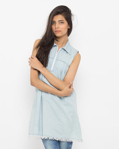 March Ice Denim Sleeveless Long Top W Zipper and Frayed Hem for Women