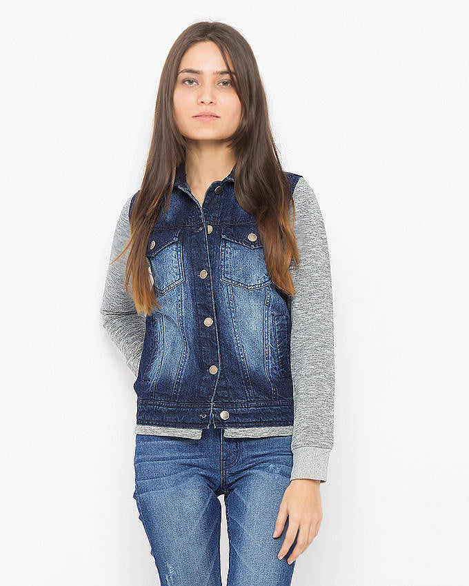March Dark Denim with Blasting and Camo-Grey Knit Sleeves Jacket for Women