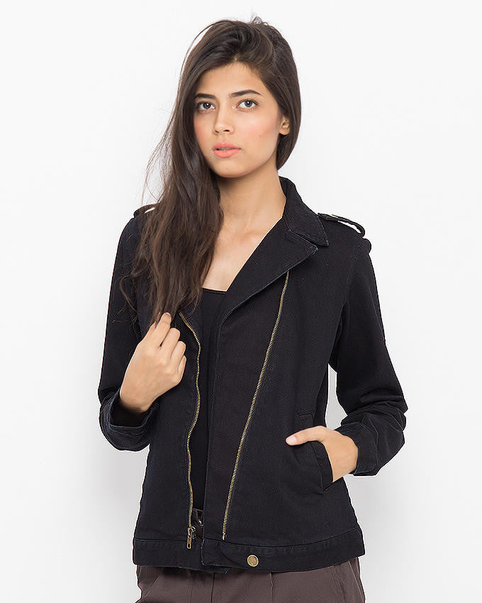 March Black Cotton Black Coated Biker Jacket for Women