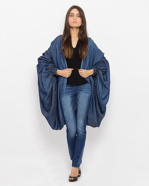 March Overcoat Dark Random Denim Shrug SuperLite For Women