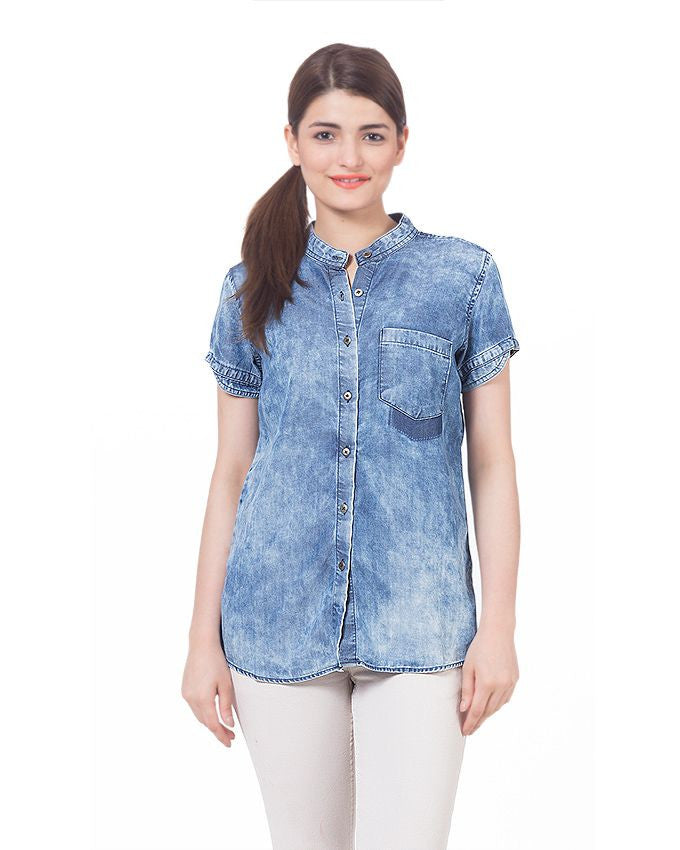March Sunny Blue Skies Tencel Denim Crop Top - Short Sleeves & Brass Buttons for Women