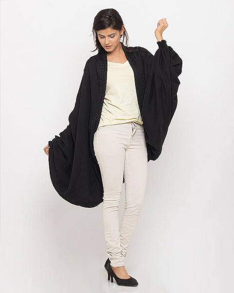 March Overcoat Black Denim Shrug SuperLite For Women