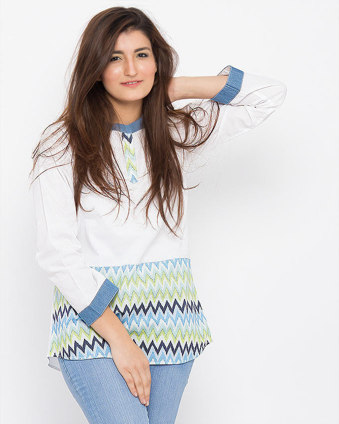 March White Self Printed Eastern Shirt with Multicolored ZigZag Digital Panel & Denim Outlining for Women