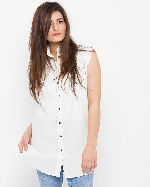 March Sleeveless White Button Down Cotton Shirt W String On Yoke For Women