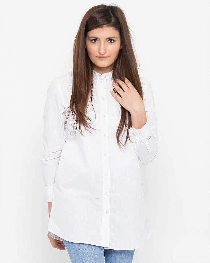 Nurai Western Button Down Shirt With White Stripe Fabric For Women