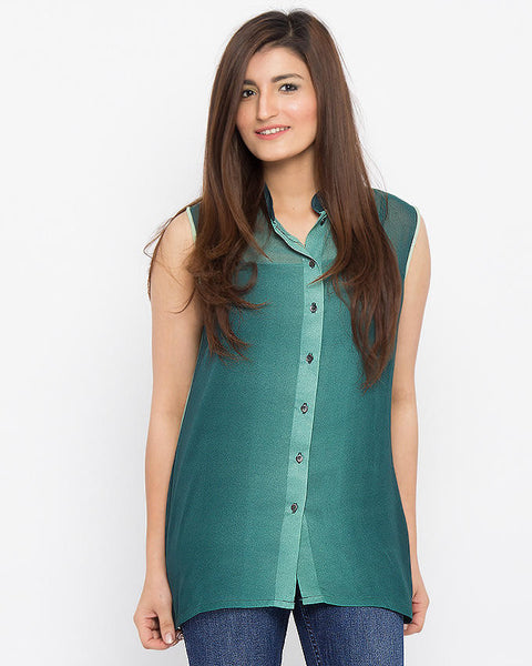 March Green Chiffon Sleeveless Button Down Shirt For Women