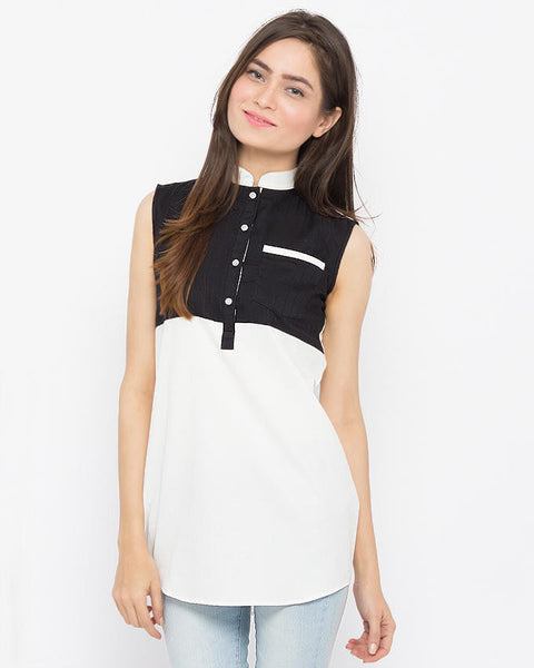 March White Oxford Cotton Sleeveless Monochrome Top W Single Front Jetted Pocket for Women