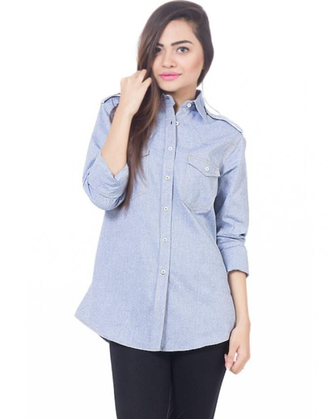 Nurai Chambray Button down Shirt with Shoulder straps