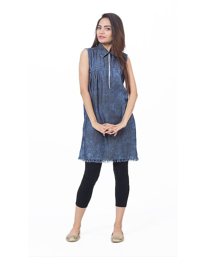 March Dark Acid Denim Sleeveless Long Top W Zipper and Frayed Hem for Women