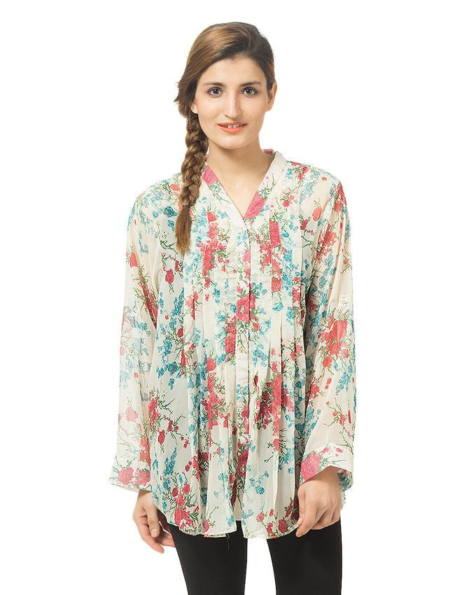 March Cream Chiffon Flared Floral Shirt for Women