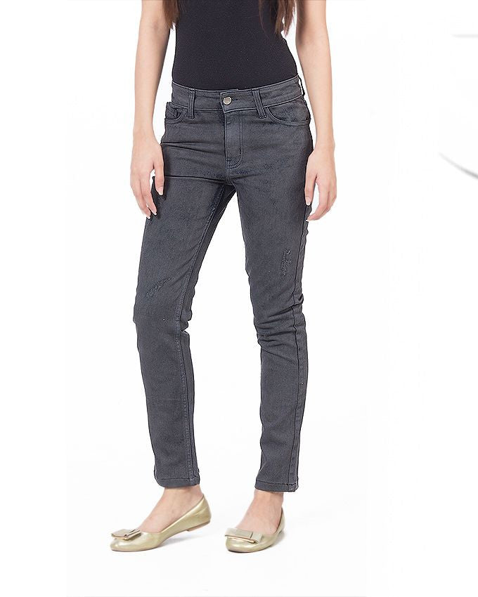 March Gray Shaded Stretchable Cotton Skinnies for Women