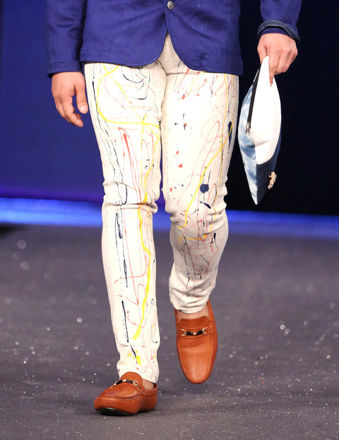 March White Denim Pant with Multi Painted Splashing For Men