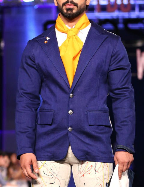 March Ink Blue Denim Blazer Coat with Contrasted White Denim Back and Silver Textured Buttons With Orange Corvette for Men