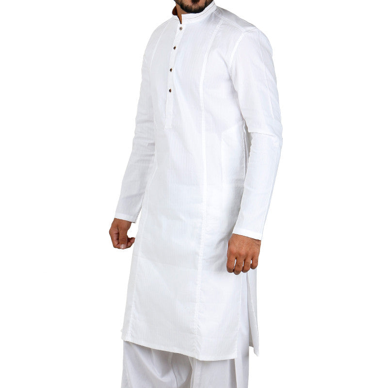 March Off-White Striped Kurta Stretchable with Brass Buttons for Men