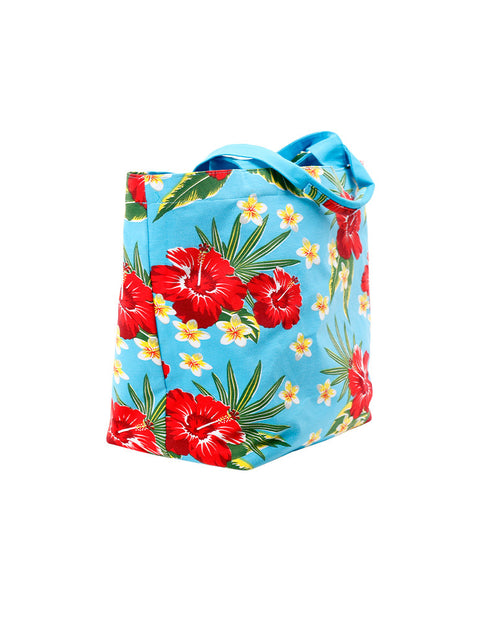 March Sky Blue Cotton Tote Bag with Large Red Hibiscus Print