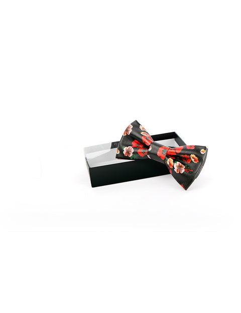 March Black Leather Red and Violet Floral Bow Tie