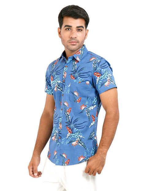 March Blue Floral with Red & Turquoise Flowers Printed Cotton Shirt with Half Sleeves for Men